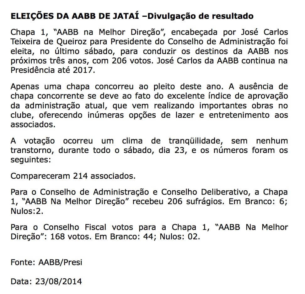 Eleicoes_DA_AABB_2014_Divulgacao_de_Resultado
