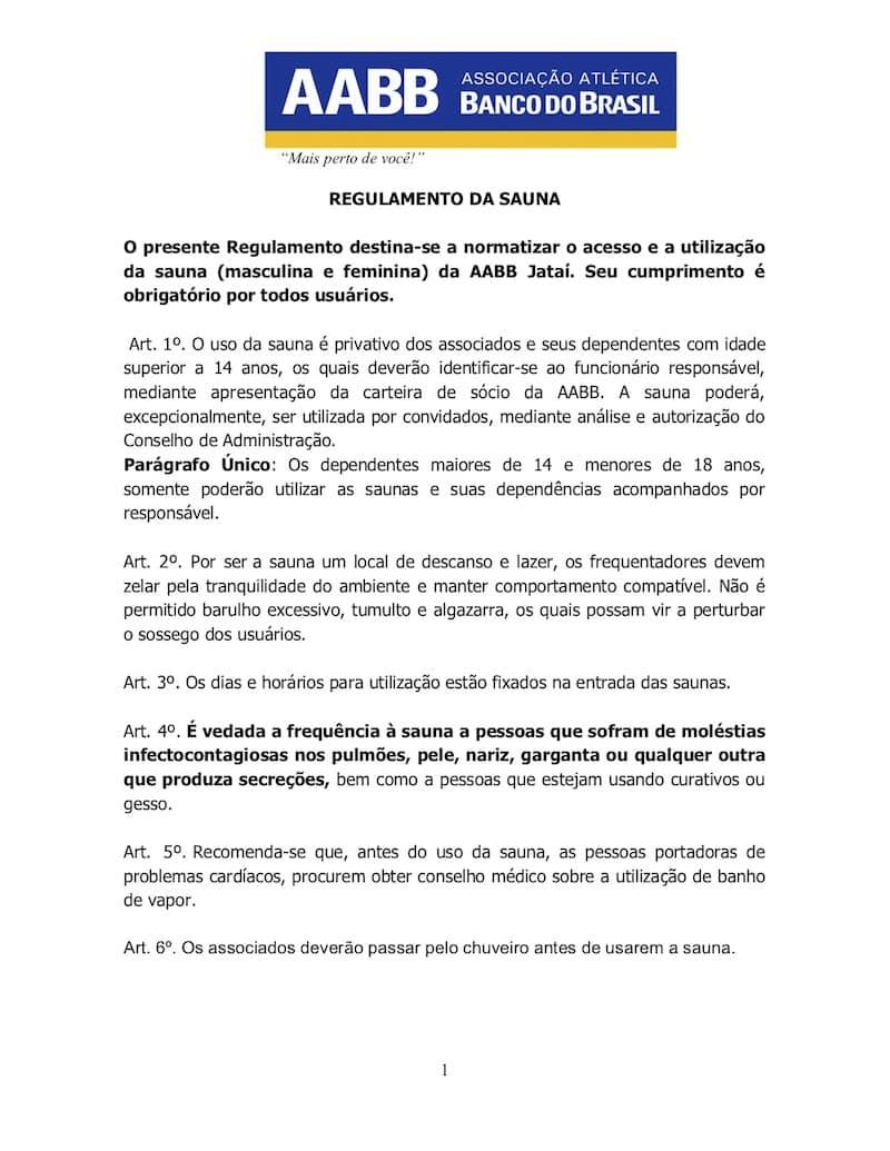 REGULAMENTO DA SAUNA AABB JATAÍ - 1